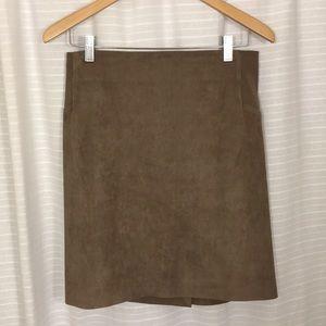 BCBGMaxAzria Taupe Suede Pencil Skirt
